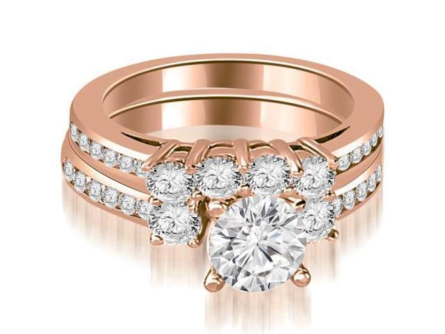 2.52 cttw. Round Cut Diamond Engagement Set in 18K Rose Gold