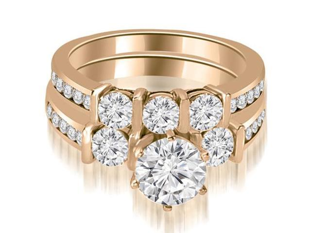 1.85 cttw. Bar Set Round Cut Diamond Engagement Set in 14K Rose Gold