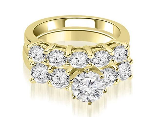 3.00 cttw. Prong Set Round Cut Diamond Bridal Set  in 14K Yellow Gold