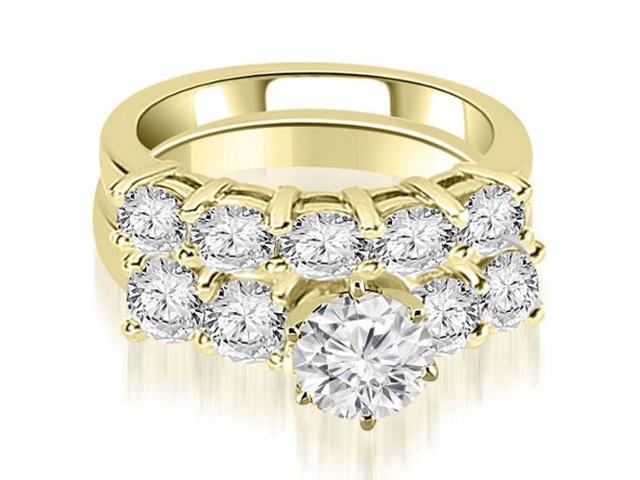 3.00 cttw. Prong Set Round Cut Diamond Bridal Set  in 18K Yellow Gold