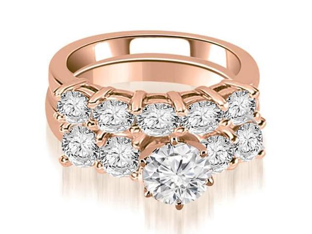 3.00 cttw. Prong Set Round Cut Diamond Bridal Set  in 18K Rose Gold