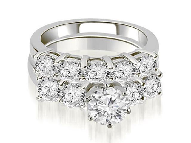 2.75 cttw. Prong Set Round Cut Diamond Bridal Set  in 18K White Gold