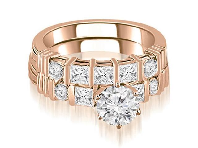 1.69 cttw. Princess And Round Cut Diamond Bridal Set in 18K Rose Gold
