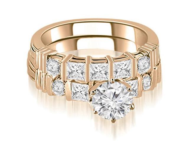 1.99 cttw. Princess And Round Cut Diamond Bridal Set in 14K Rose Gold