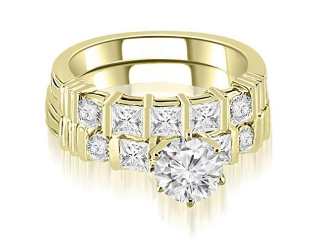 2.24 cttw. Princess And Round Cut Diamond Bridal Set in 18K Yellow Gold