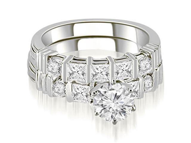 2.24 cttw. Princess And Round Cut Diamond Bridal Set in 18K White Gold