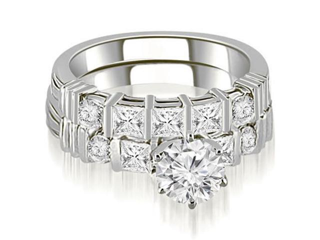 1.69 cttw. Princess And Round Cut Diamond Bridal Set in 14K White Gold