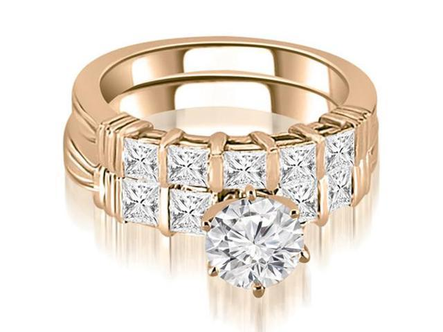 2.05 cttw. Bar Setting Princess Cut Diamond Bridal Set in 14K Rose Gold