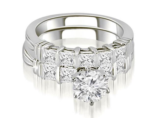 2.55 cttw. Bar Setting Princess Cut Diamond Bridal Set in 18K White Gold