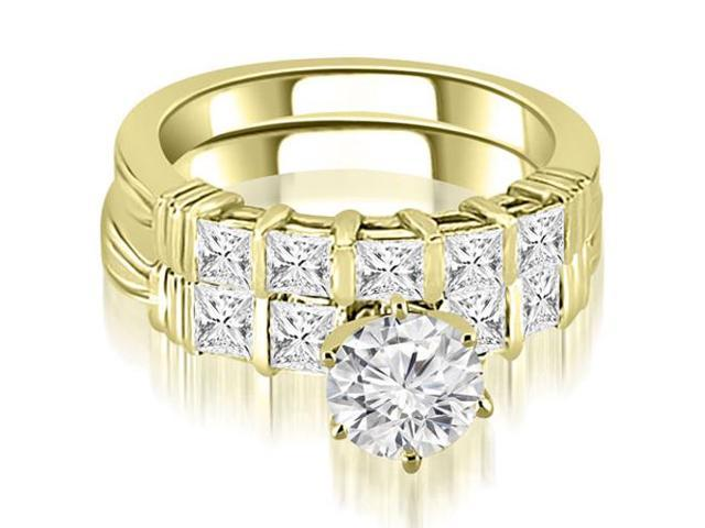 2.00 cttw. Bar Setting Princess Cut Diamond Bridal Set in 14K Yellow Gold