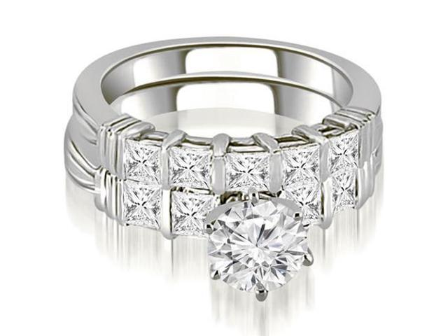 2.30 cttw. Bar Setting Princess Cut Diamond Bridal Set in 14K White Gold