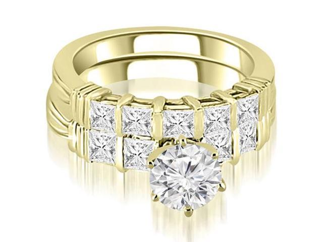 1.90 cttw. Bar Setting Princess Cut Diamond Bridal Set in 18K Yellow Gold