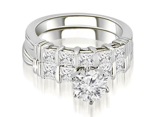 2.05 cttw. Bar Setting Princess Cut Diamond Bridal Set in Platinum