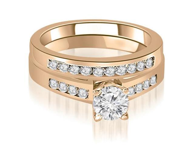 0.90 cttw. Channel Set Round Cut Diamond Bridal Set in 14K Rose Gold