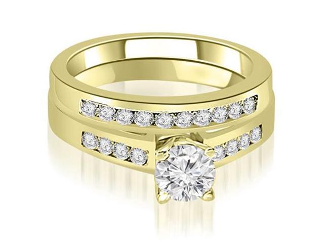 0.95 cttw. Channel Set Round Cut Diamond Bridal Set in 14K Yellow Gold