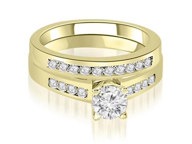 1.45 cttw. Channel Set Round Cut Diamond Bridal Set in 18K Yellow Gold