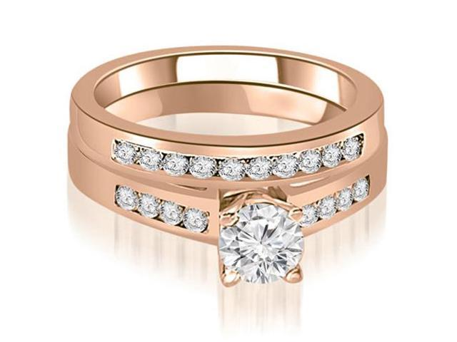 1.45 cttw. Channel Set Round Cut Diamond Bridal Set in 18K Rose Gold