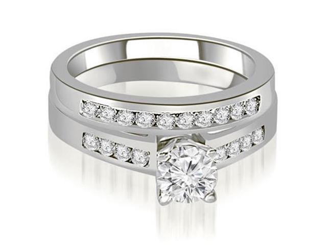 0.90 cttw. Channel Set Round Cut Diamond Bridal Set in 14K White Gold