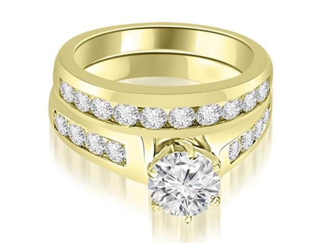 2.15 cttw. Channel Set Round Cut Diamond Bridal Set in 14K Yellow Gold
