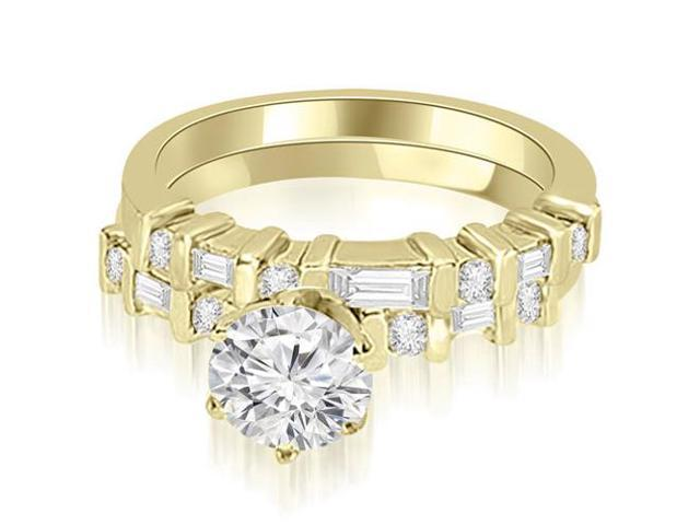1.00 cttw. Round and Baguette Diamond Bridal Set in 18K Yellow Gold