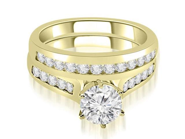 1.41 cttw. Channel Set Round Cut Diamond Bridal Set in 18K Yellow Gold