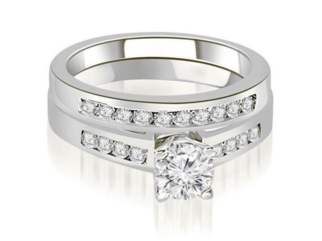 1.45 cttw. Channel Set Round Cut Diamond Bridal Set in Platinum