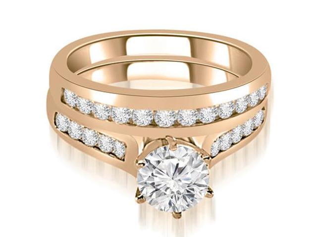 1.01 cttw. Channel Set Round Cut Diamond Bridal Set in 14K Rose Gold