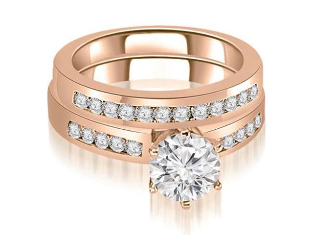 1.05 cttw. Channel Set Round Cut Diamond Bridal Set in 18K Rose Gold