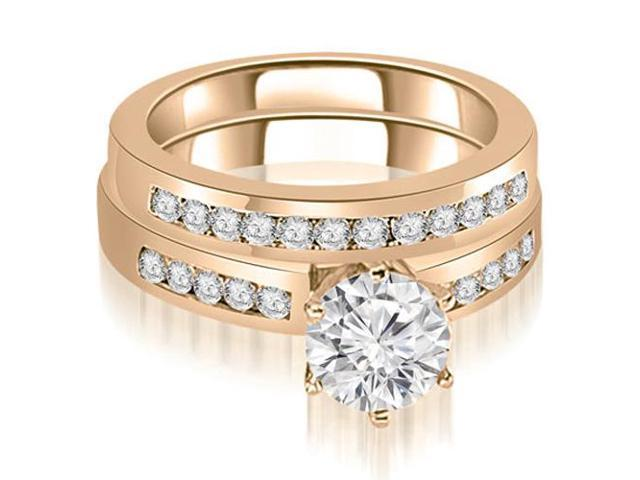 1.05 cttw. Channel Set Round Cut Diamond Bridal Set in 14K Rose Gold