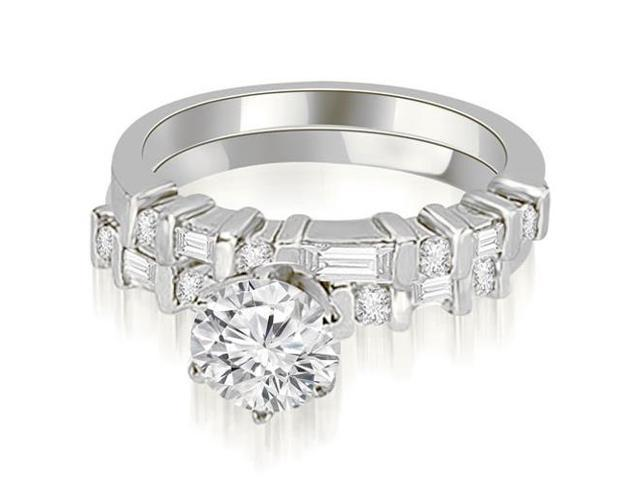 1.30 cttw. Round and Baguette Diamond Bridal Set in 18K White Gold