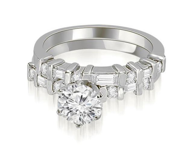 1.55 cttw. Round and Baguette Diamond Bridal Set in 14K White Gold