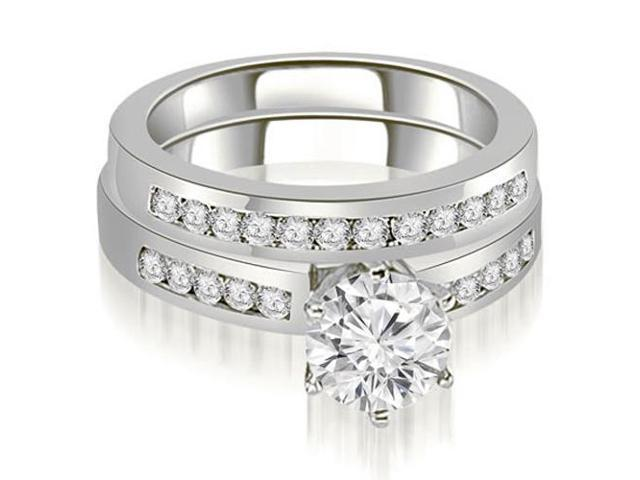 1.05 cttw. Channel Set Round Cut Diamond Bridal Set in 14K White Gold