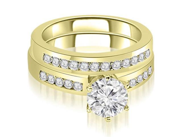 1.55 cttw. Channel Set Round Cut Diamond Bridal Set in 14K Yellow Gold