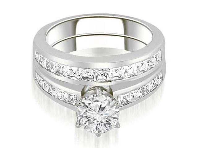 2.00 cttw. Channel Set Princess Cut Diamond Bridal Set in Platinum