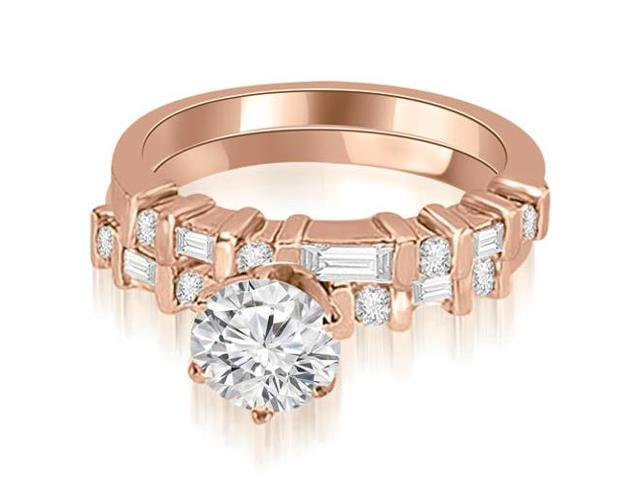 1.30 cttw. Round and Baguette Diamond Bridal Set in 18K Rose Gold