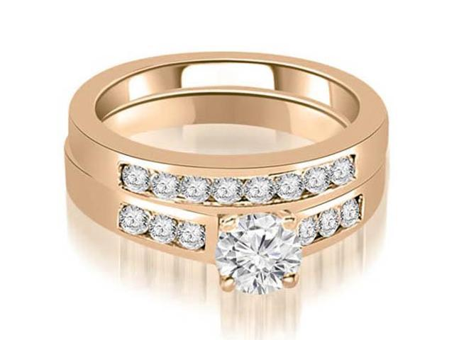 0.85 cttw. Channel Set Round Cut Diamond Bridal Set in 14K Rose Gold