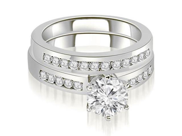 0.90 cttw. Channel Set Round Cut Diamond Bridal Set in 18K White Gold
