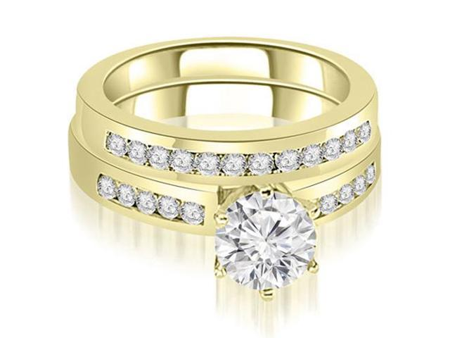 1.55 cttw. Channel Set Round Cut Diamond Bridal Set in 18K Yellow Gold