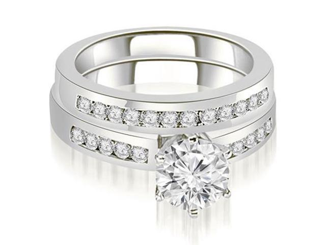 1.05 cttw. Channel Set Round Cut Diamond Bridal Set in Platinum