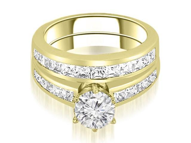 2.55 cttw. Channel Set Princess Cut Diamond Bridal Set in 14K Yellow Gold