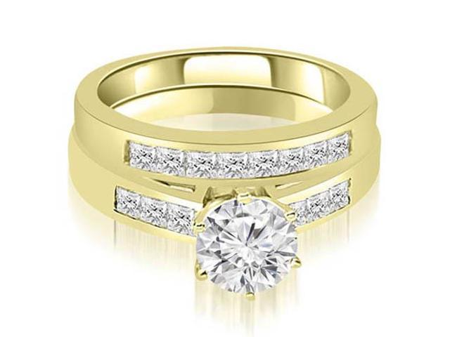 1.15 cttw. Channel Set Princess Cut Diamond Bridal Set in 14K Yellow Gold