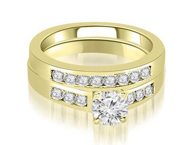 1.00 cttw. Channel Set Round Cut Diamond Bridal Set in 14K Yellow Gold