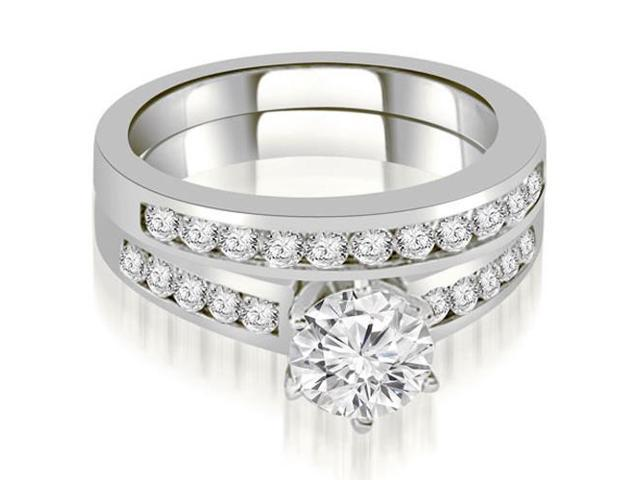 1.40 cttw. Channel Set Round Cut Diamond Bridal Set in 18K White Gold