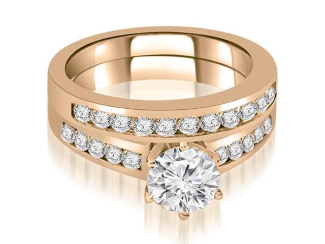 1.40 cttw. Channel Set Round Cut Diamond Bridal Set in 14K Rose Gold