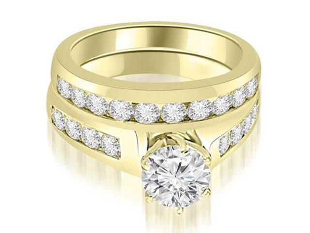 1.90 cttw. Channel Set Round Cut Diamond Bridal Set in 18K Yellow Gold