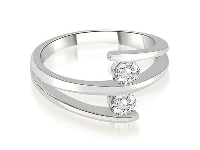 0.50 cttw. Two Stone Tension Split Shank Diamond Wedding Ring in Platinum (VS2, G-H)