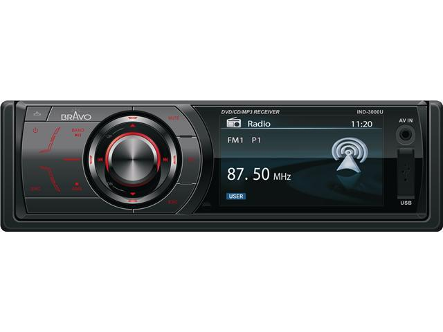 "Bravo View IND-3000U – In-Dash DVD/CD/MP3 Receiver with 3"" Widescreen TFT-LCD and USB/SD/AV-IN"