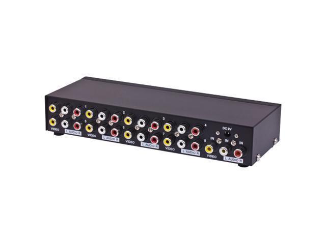 8 Ports RCA Video Audio AV Switch 1 to 8 Ports Selector 8-Way TV DVD Splitter Box