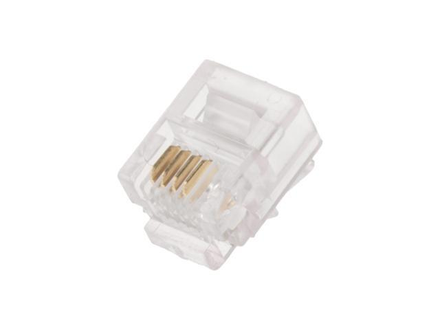 50PCS CAT3 Telephone Connector End RJ11 6P4C Modular Plug Adapter