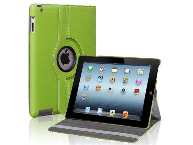 Green 360 Rotating Magnetic PU Leather Case Smart Cover Swivel Stand For The New iPad 3 2012 & 2 Wifi